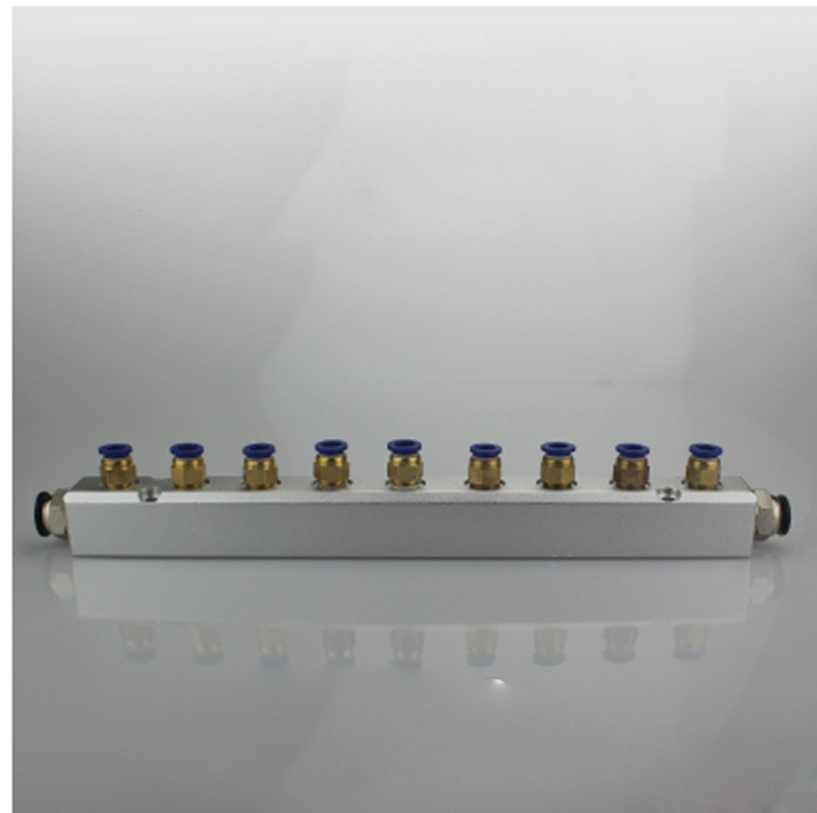 A Kit 30x30mm 9 Way Pneumatic Air Manifold Splitter With Push Fit CouplerA Kit 30x30mm 9 Way Pneumatic Air Manifold Splitter With Push Fit Coupler