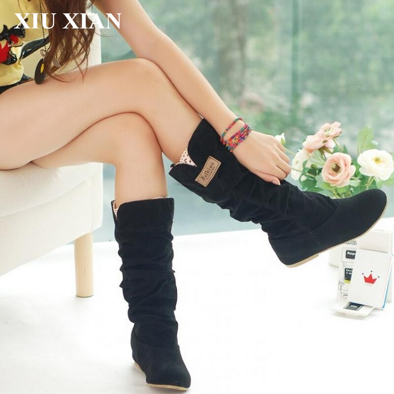 2017 New Fashion Spring Autumn Womens Casual Boots Princess Sweet Women Boot Korean Flat Flock Mid-calf Boots Plus Size EUR34-43 new 2017 spring summer women shoes pointed toe high quality brand fashion womens flats ladies plus size 41 sweet flock t179