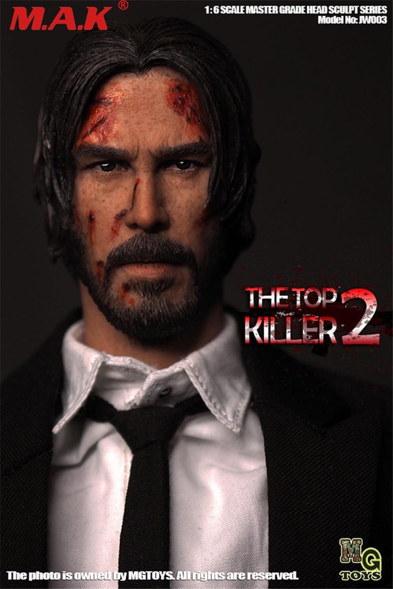 1/6 scale the killer John Wick head sculpt Keanu Reeves head carved male  man boy head model toy for 12' action figure body