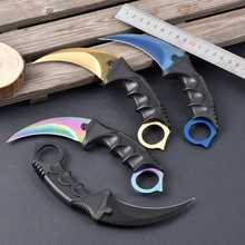 6 Colors Real CS GO Karambit Knife Counter Strike Camping Hiking Survival Knife Sheath Combat Claw Knife Drop Shipping