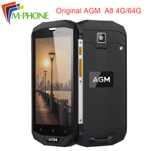 Original AGM A8 5.0 inch 4GB+64GB Waterproof Mobile Phone Qualcom Snapdragon MSM8916 4050mAh 13MP NFC OTG 4G LTE Smartphone
