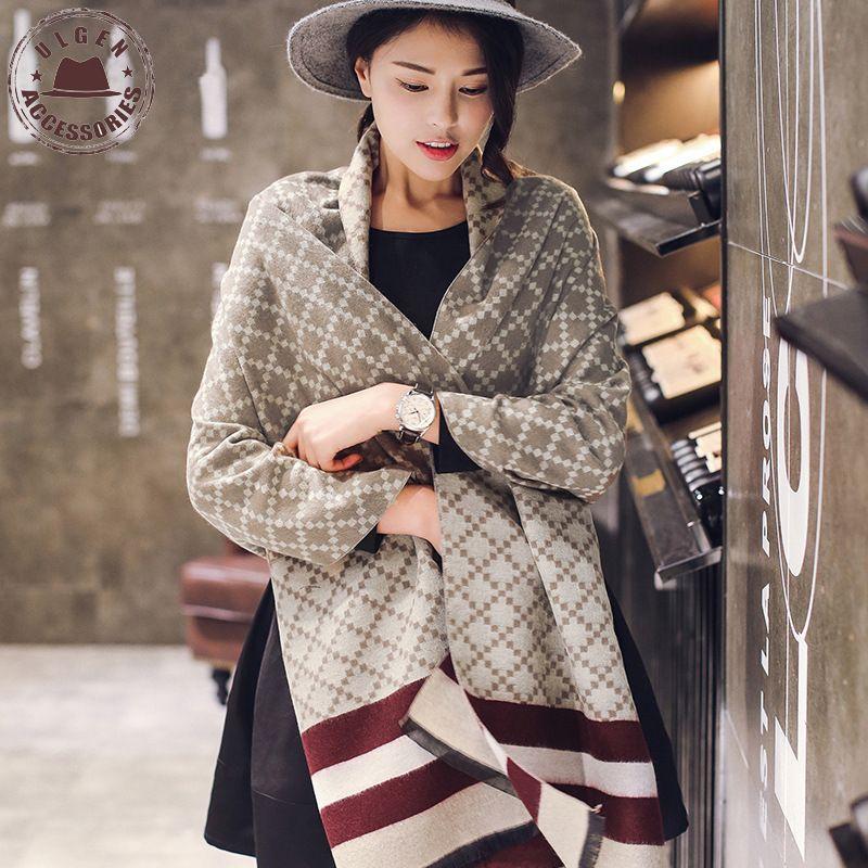 Winter Luxury Brand Soft Cashmere <font><b>Scarf</b></font> Women Oversized Long Plaid Blanket Pashmina Shawl Warm Winter Warp <font><b>Scarves</b></font>