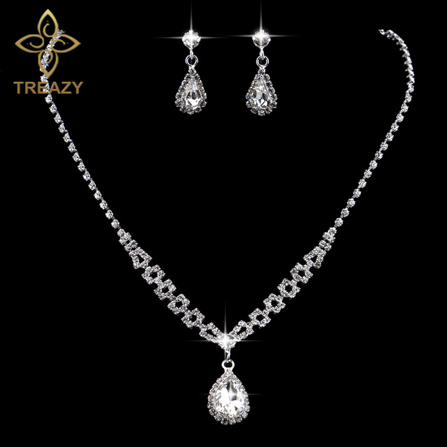 TREAZY Romantic Teardrop Crystal Bridal Jewelry Set For Women