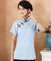 Blue Vintage Button Chinese Style Women Shirt Tops Ladies Cotton Linen Short Sleeve Blouse Summer New