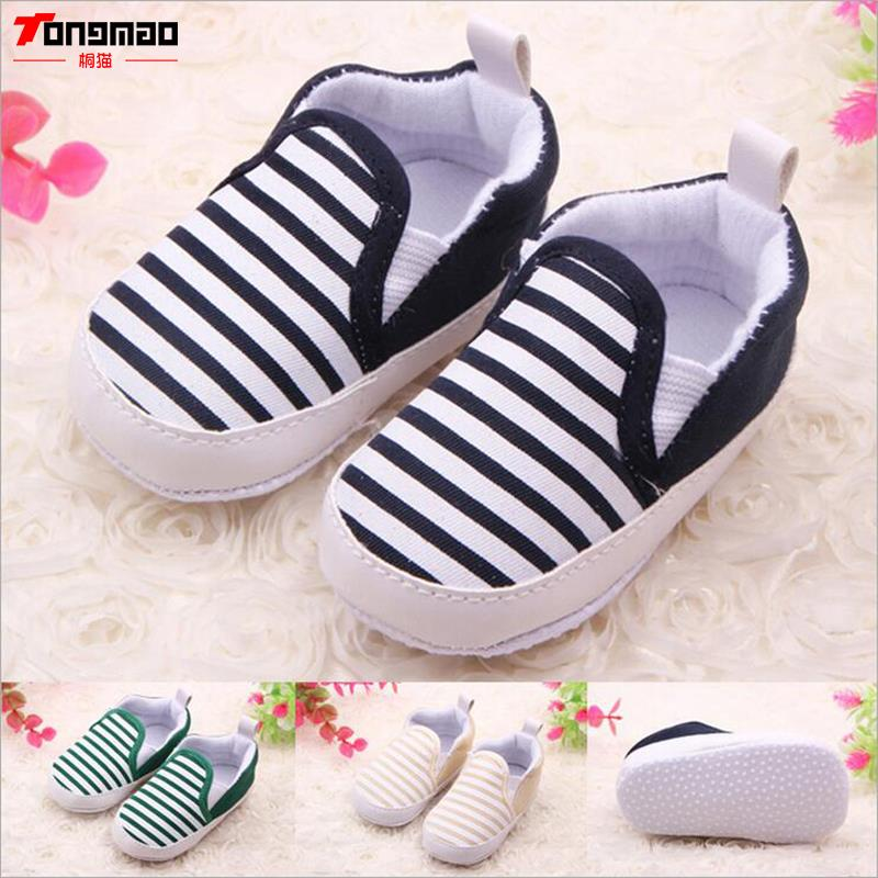 2016 Leisure Newborn Baby Boys & Girls Kids First Walkers Shoes Infant Babe Fashion Crib Soft Bottom Striped Canvas Loafer Shoes