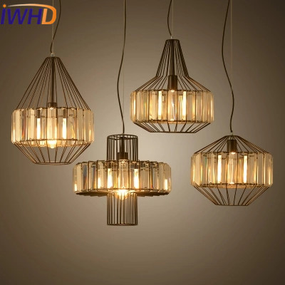IWHD Crystal Vintage Industrial Lighting Pendant Lights Loft Style Retro Iron Pendant Lamp Bedroom Kitchen light Fixtures