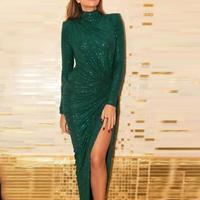 Glitter ruched design thigh slit dress Women long sleeve green bodycon party dress Turtleneck twisted long dress maxi vestidos