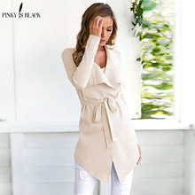 PinkyIsBlack Long Trench Women Spring Autumn Ladies Long Sleeve Coat Turn Down Collar Open Stitch Overcoat Female Outwear new 2019 spring women geometric pattern fringed shawl turn down collar coat splices tassel open stitch long sleeve knit cardigan