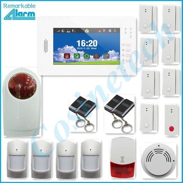 Cadran automatique 7 pouces écran tactile 868 MHZ GSM850/900/1800/1900 Mhz système d'alarme, prise en charge IOS Android APP, menu convivial, batterie au Lithium