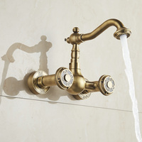 Free Shipping Antique Brass Bathroom Faucet Double Handle Wall Mounted Basin Tap 360 Swivel Kitchen Mixer