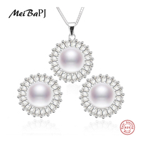 New Sun Flower Natural Pearl Jewelry Sets Real 925 Solid Silver Classic Pendant Earrings Charm Jewelry