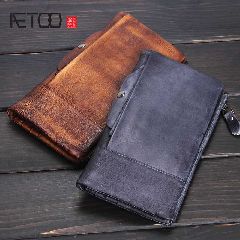 AETOO Men's leather retro wallet long paragraph handmade multi-card bit first layer of leather ladies hand bag soft leather aetoo spring and summer new leather handmade handmade first layer of planted tanned leather retro bag backpack bag