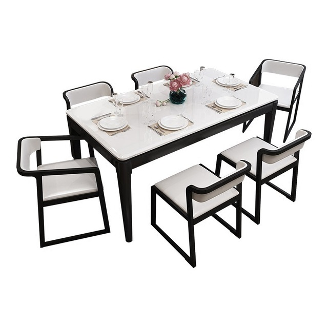 Solid Ash Marble Dining Table And 6 Chairs