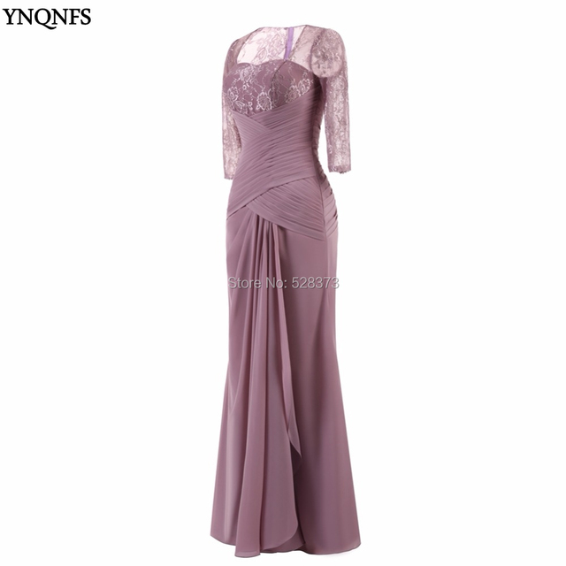 ac27f649cf66 YNQNFS MD140 Real Pictures Elegant Wedding Guest Dress Ruched Chiffon 3 4  Sleeves Mother of the Bride Groom Dresses Outfits 2019
