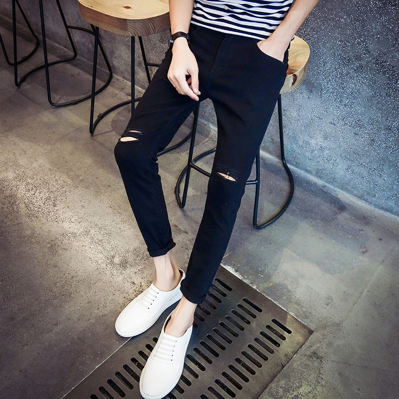 2016 Summer hot selling new thin hole baggy jeans retro trend nine pants young men's jeans men slim pants nine feet fashion tide