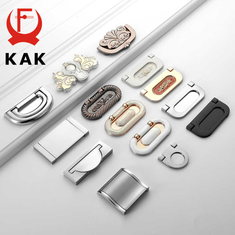 KAK Zinc Alloy Cabinet Knobs and Handles Tatami Hidden Door Handles Kitchen Handles Black Drawer Knobs Furniture Handle Hardware
