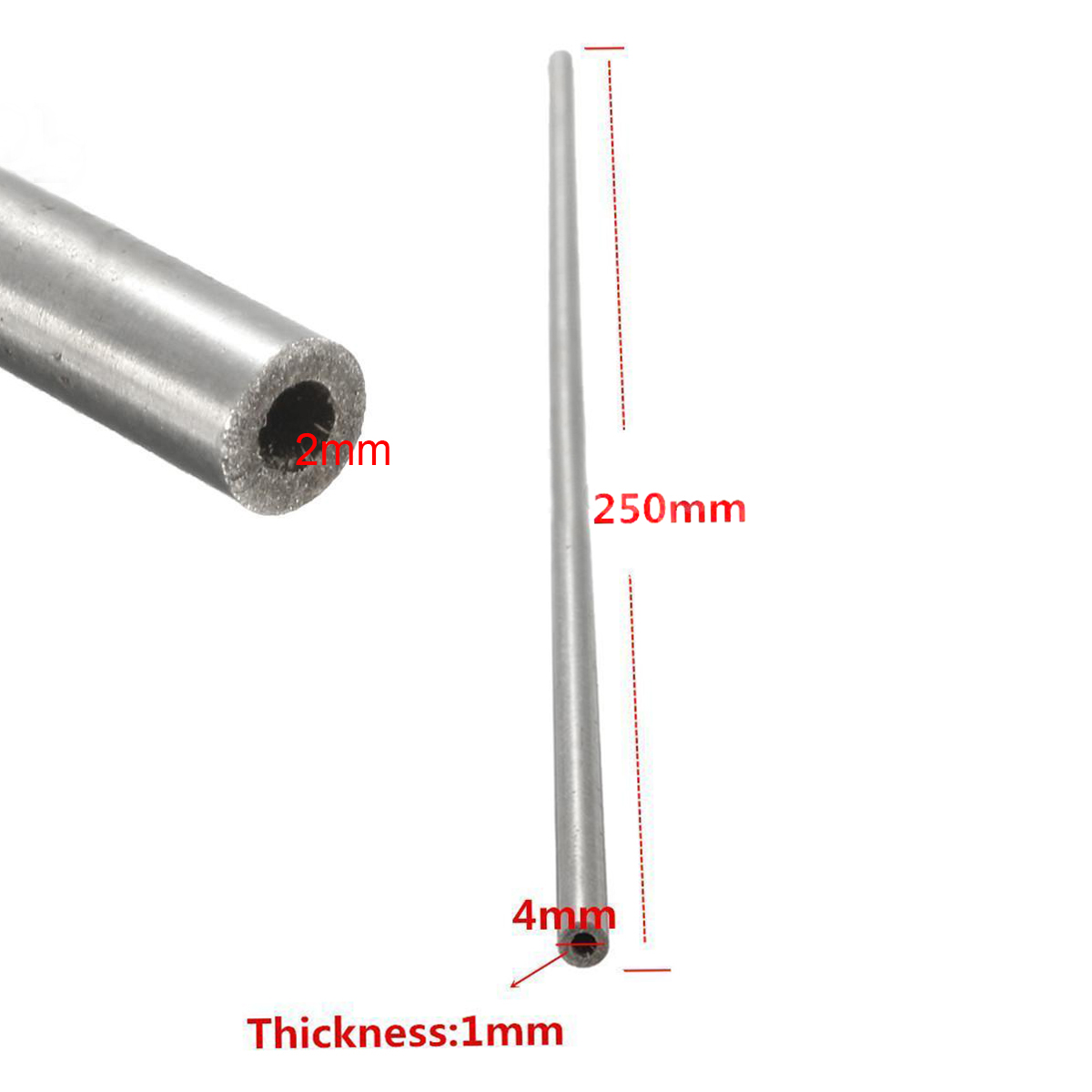 1pc Stainless Seamless Steel Tube Silver Capillary Round Pipe 4mmx2mmx250mm Mayitr