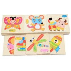 3D пазл, деревянные игрушки, пазлы для животных, деревянные Обучающие игрушки, мультипликационная Развивающая игра для детей