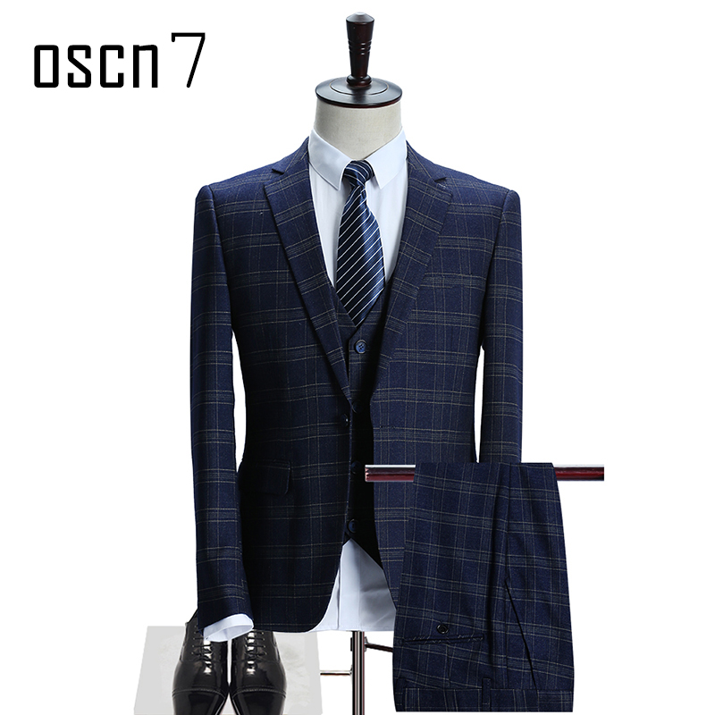 OSCN7 Plaid Navy Blue Mens Suit 2017 New Fashion Business Slim Fit ...