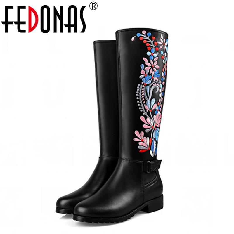 FEDONAS Brand Embroider Thick High Heel Knee-High Winter Warm Snow Boots Women Sexy Motorcycle Boots Shoes Woman Big Size 34-43 fedonas top quality winter ankle boots women platform high heels genuine leather shoes woman warm plush snow motorcycle boots