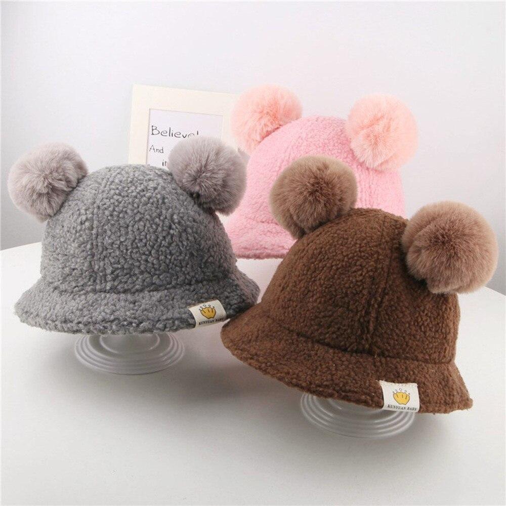 Mom/&Newborn Baby Girls Boy Winter Warm Double Fur Pom Bobble Knit Beanie Hat CHZ