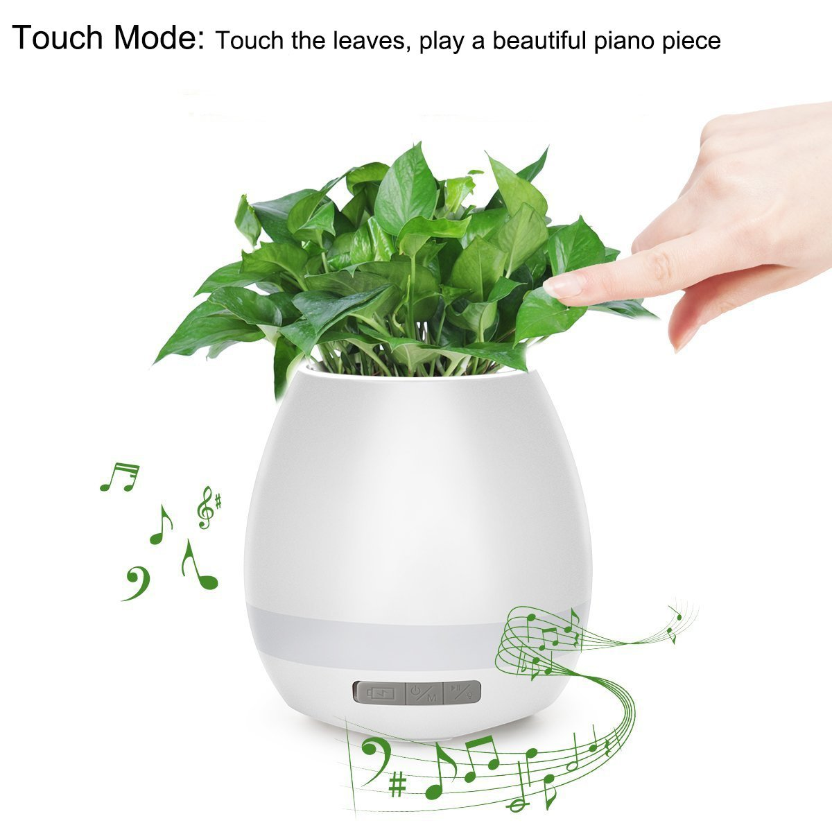 Image 2 - Music Flower Pot Speaker Smart Wireless Finger Bluetooth Switch Office Living Room Decoration Home Speaker Desk Touch Night LED-in Portable Speakers from Consumer Electronics