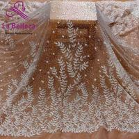 1 yard off white bridal fabric polyester clear sequins embroidery wedding dress lace fabric