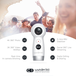 Wunder360 Camera for Live Streaming 4K 360 camera Panoramic video camera VR Camera Dual-Lens Ultra HD Cam In-camera Stitching