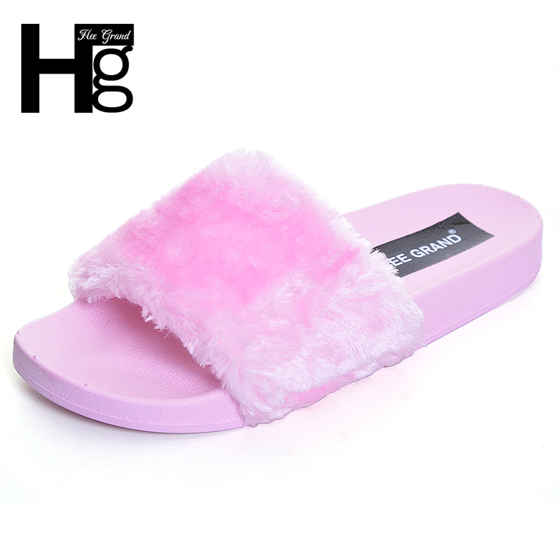 HEE GRAND Sweet Fur Slippers 2017 Warm Platform Shoes Woman Slip On Soft Flat with Casual Slipper Women Shoes 4 Colors XWT1018 exotic chinese retro totem embroidery shoes woman canvas flat heel mules cool fish warping slip on slipper casual slides size 41