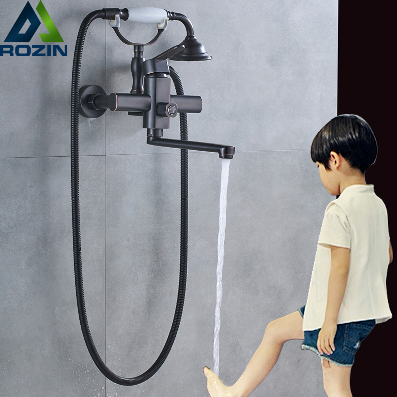 Telephone Style Bathtub Faucet Wall Mounted Handheld Bath Shower Set with Handshower Bracket 20cm Long Swivel Spout new us free shipping simple style golden finish bathtub faucet mixer tap shower faucet w ceramics handheld shower wall mounted