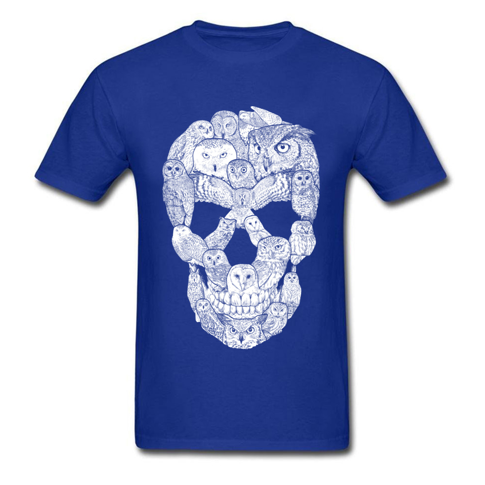 Sketchy Owl Skull Mother Day 100% Cotton Fabric Crew Neck T Shirt Short Sleeve Group Tops T Shirt Company Slim Fit T-Shirt Sketchy Owl Skull blue