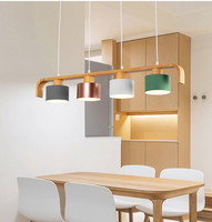 Modern LED Pendant Lights With Metal Lampshade For Dining Wooden Hanging Lamp Wood Kitchen Luminaire