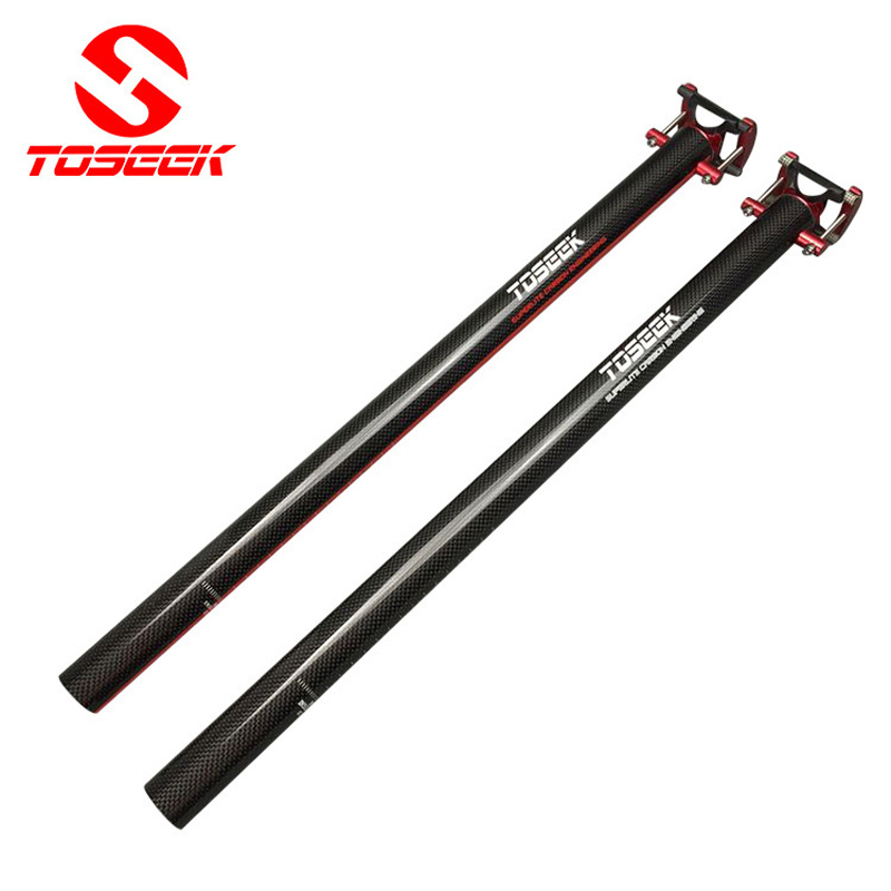 TOSEEK Full Carbon Fiber Ultra-Light Road Bike Seatpost Folding Bicycle Seat Post Tube 3k gloss 33.9*580mm  black bike parts specials 2015 new arrive cycling king c k white red back seat post all carbon fiber seat tube road mountain bike top parts
