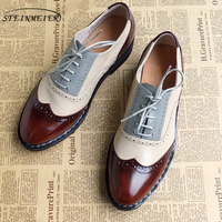 Men Genuine Leather Oxford Shoes Male Flats Handmade Vintage Retro Lace Up Loafers Brown Casual Sneakers