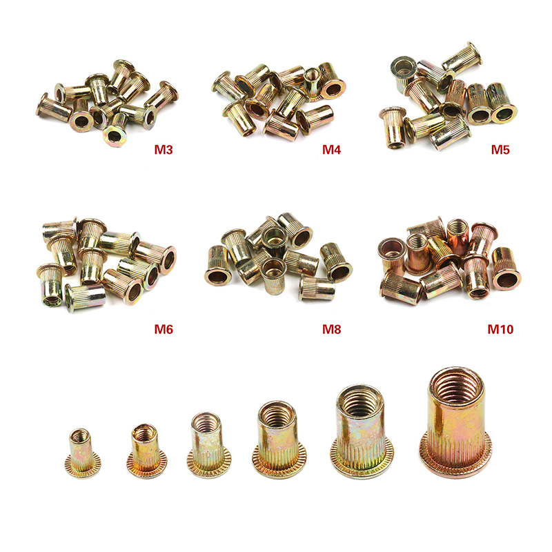 10PCS M3 M4 M6 M8 M10 Carbon Steel Rivet Nuts Flat Head Rivet Nuts Set Nuts Insert Riveting Set