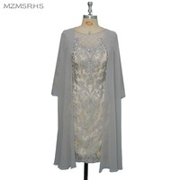 Mzmsrhs silver lace mother of the bride dresses with chiffon jacket 3 4 sleeves beading women.jpg 200x200