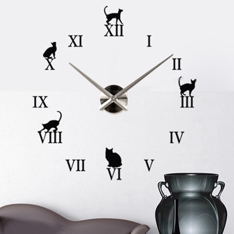 Grande horloge murale bricolage chat Animal 3D montre heures Art moderne décoration autocollants conceptions décor 12S020