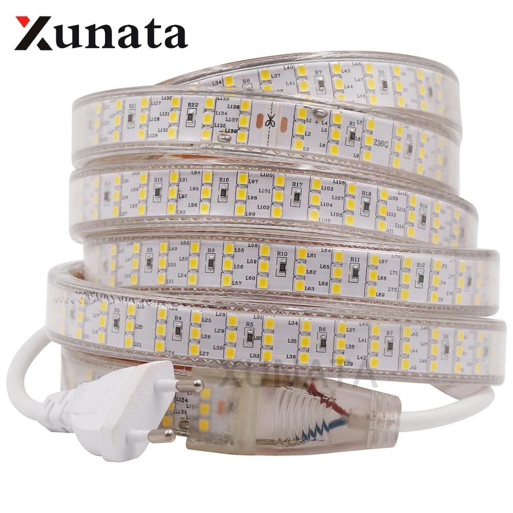 EU 220V/US 110V Three Row 2835 LED Strip Light Waterproof 276Leds/m 264Leds/m Warm/White Home Decoration Lights 1m~50m