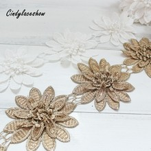 1Yard 3 Layers Flowers White Gold Lace Trim Ribbon Water Soluble Embroidery Handicraft DIY Floral Applique Sewing Trimmings