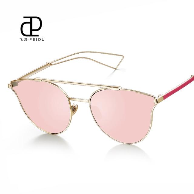 FEIDU Hot Selling Metal Cat Eye Sunglasses Women Luxury Brand Design Mirror Sun  Glasses For Women Oculos de sol Feminino UV400 6e477138aa