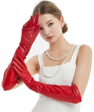 50cm(19.7) long  wrist buttons style 2 real sheep leather evening gloves red