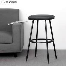 iKayaa 2PCS Modern Metal Bar Stools with Footrest Counter Pub Stool Padded Seat Kitchen Chairs Home Bar Furniture US DE Stock(China)