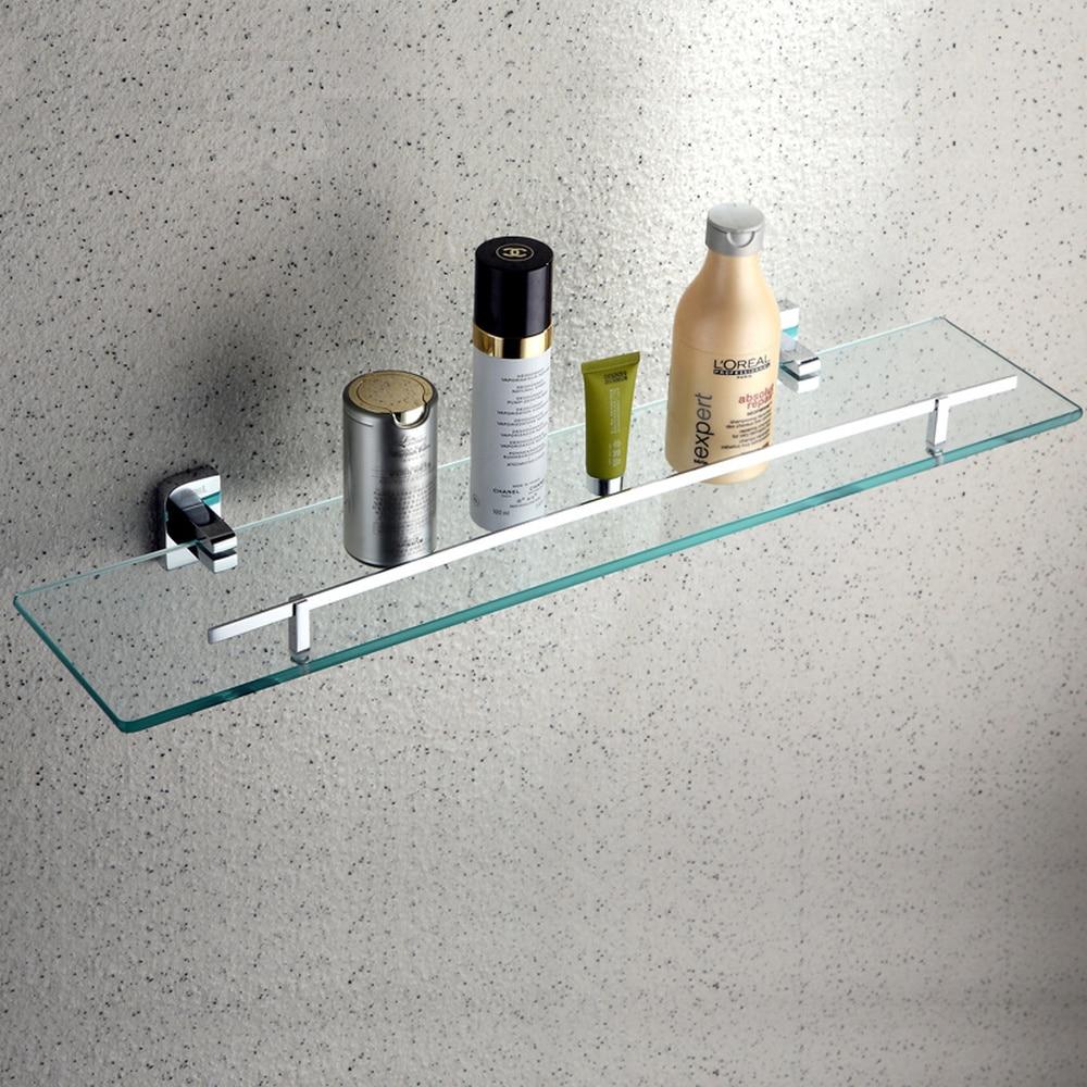 Bathroom glass shelf single layer tempered glass storage rack copper base dressing table wx7241552 все цены
