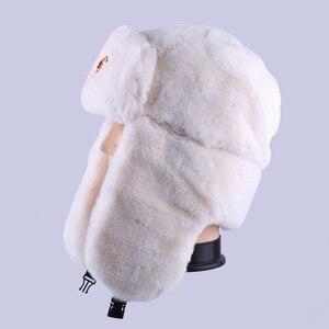 Image 5 - Radziecka odznaka Ushanka rosyjski mężczyzna kobiet czapki zimowe Faux Rabbit Fur armia wojskowa bomberka kapelusz kozak traper Earflap śnieg czapka narciarska