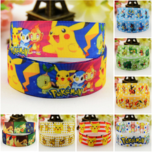 7/8'' (22mm) Pokemon Cartoon Character printed Grosgrain Ribbon party decoration satin ribbons OEM 10 Yards 7 8 22mm owl cartoon character printed grosgrain ribbon party decoration satin ribbons oem 10 yards