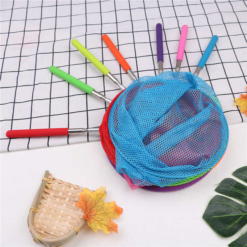 1pc crianças telescópica butterfly net extensível 34 polegadas e anti deslizamento aperto perfeito para pegar insetos brinquedos de pesca coloridos