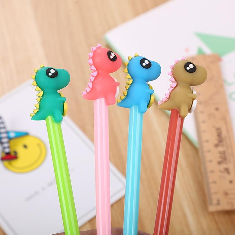 100 Pcs Creative Stationery Dinosaur Silica Gel Head Neutral Pen Cute Cartoon Learning Office Water based