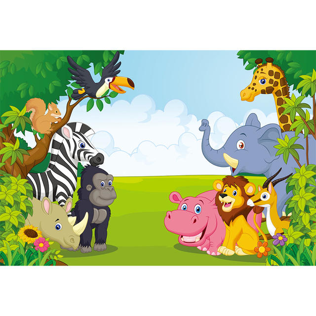 HUAYI personalised Safari Jungle Birthday Banner Cute Baby Animals Forest Photography party background Decor Photo Props XT-6521