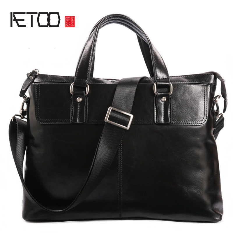 AETOO Retro first layer of leather men's handbag leather men's briefcase men's shoulder bag business men bag polo women golf club clothing bag handbag nylon first layer of leather
