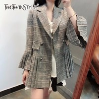 TWOTWINSTYLE Plaid Blazer For Women Double Breasted Pleated Flare Sleeve Irregular Coat Spring 2018 Fashion Vintage Clothing